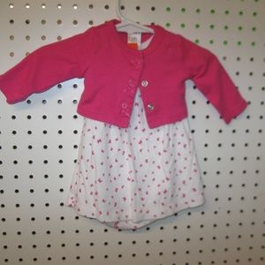2 PC Pink and White NB Dress w/sweater out fit